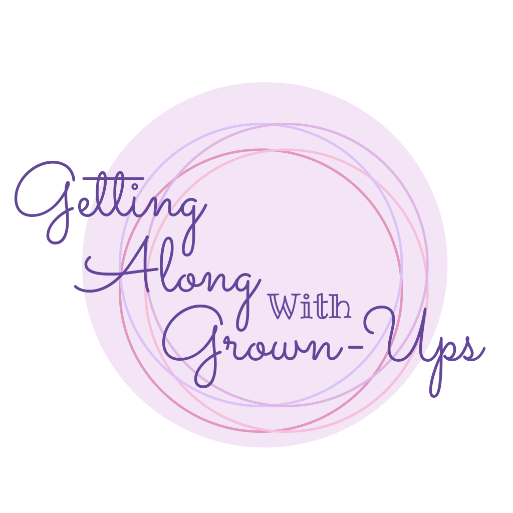 getting along with grown ups purple logo